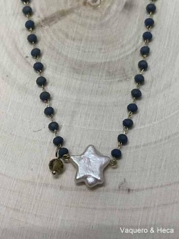 Collar-estrella-perla-con-acero-y-cordón-azul marino-1