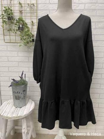 Vestido-algodón-volante-negro