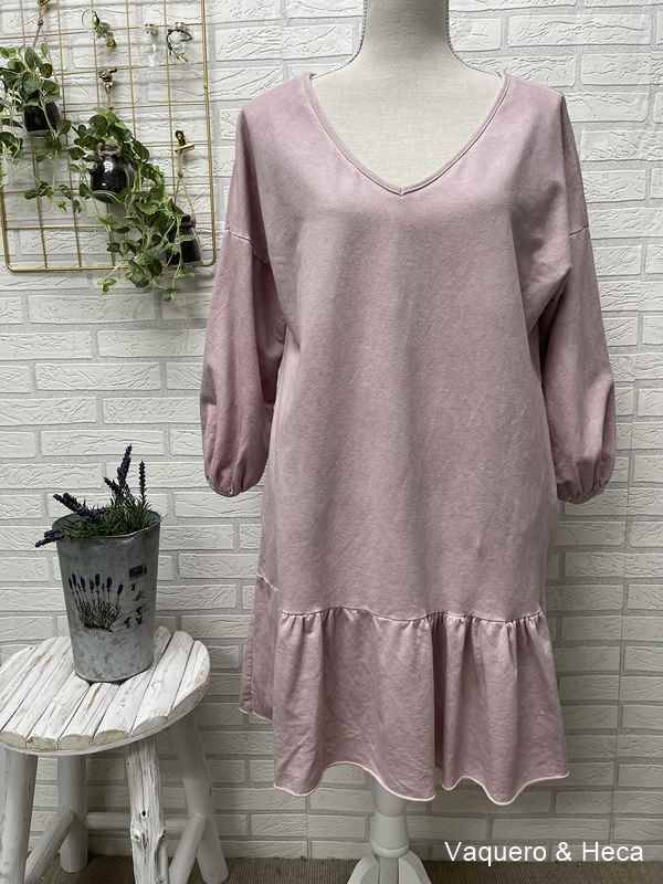 Vestido-algodón-volante-rosa-empolvado