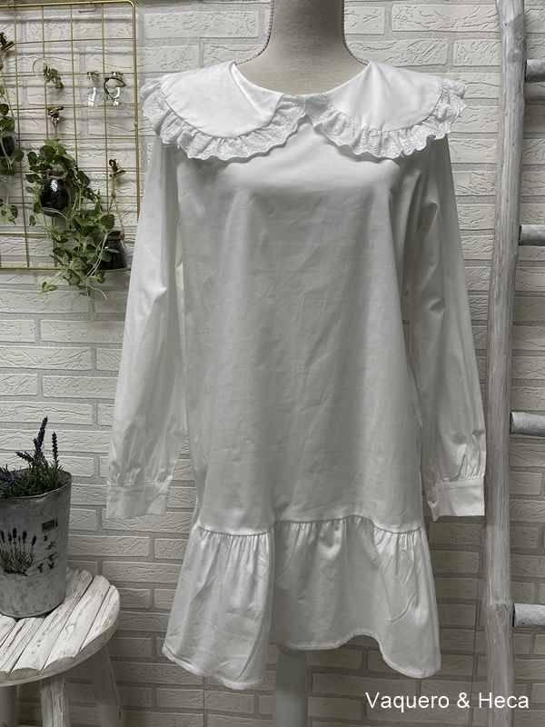 Vestido-camisero-cuello-bebé-blanco