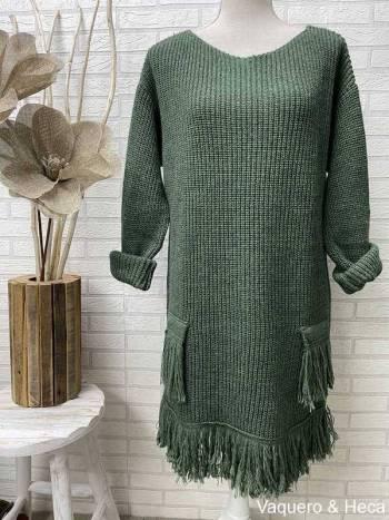 vestido-punto-flecos-verde-oscuro
