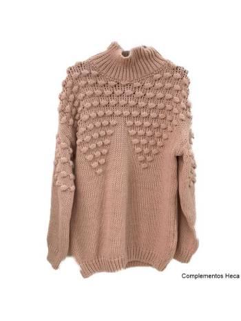Jersey abullonado cuello alto en rosa