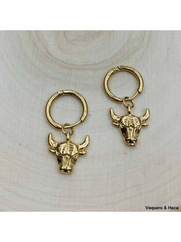 Pendientes-acero-dorado-aro-búfalo