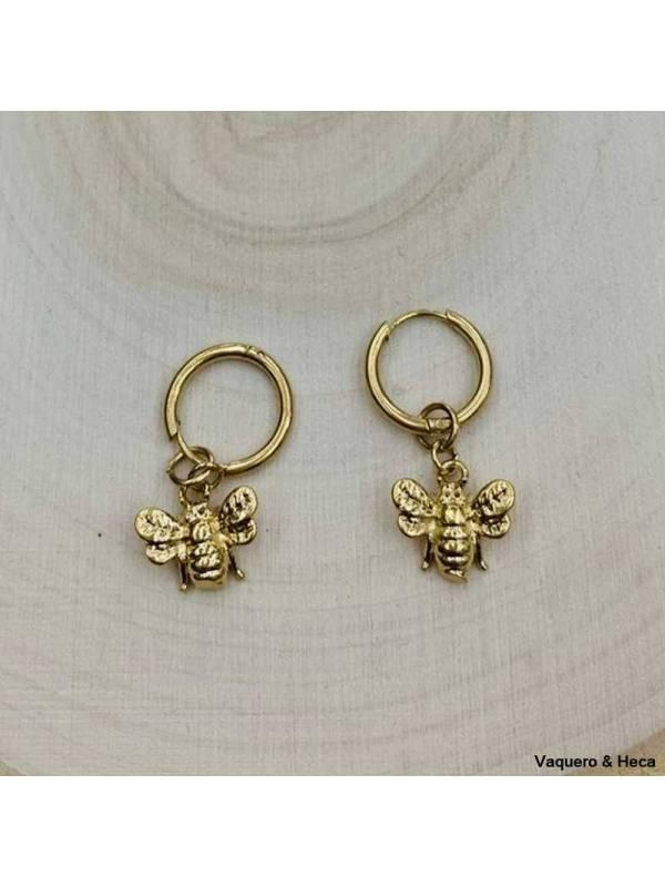 Pendientes-acero-dorado-aro-mosca